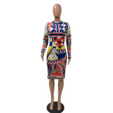Printed Poker Long Sleeve Fashion Bodycon Dress