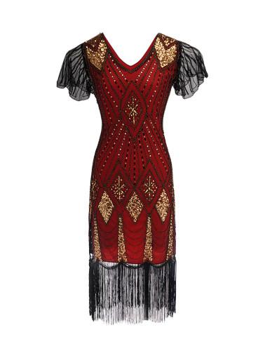 1920s Vintage Sequin Tassel Cocktail Dress in Red/Gold