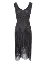 1920s Vintage Sequin Fringe Hem Flapper Dress in Black/Silver