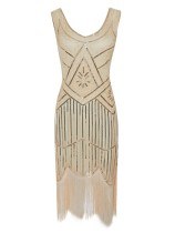 1920s Vintage Sequin Fringe Hem Flapper Dress in Beige