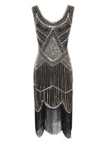 1920s Vintage Sequin Fringe Flapper Dress in Contrast Gold