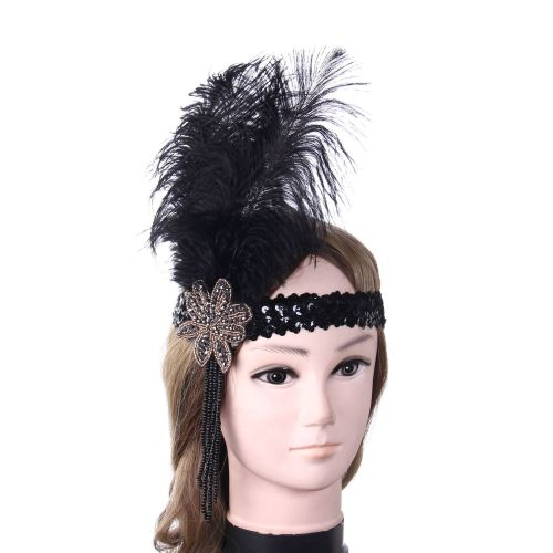 Black Sequin Feather Hairband