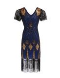 1920s Vintage Sequin Tassel Cocktail Dress in Blue