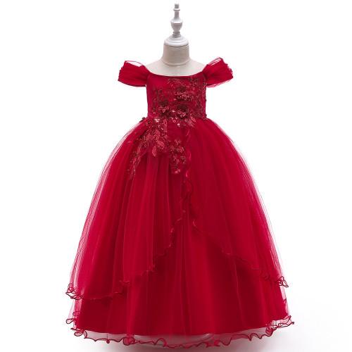 Red Off Shoulder Flower Applique Beaded Girls Tulle Dress
