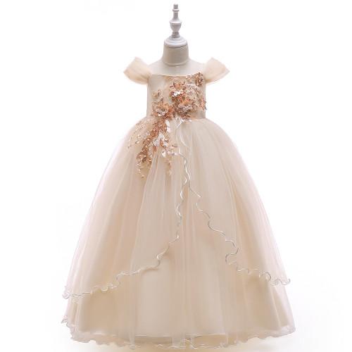 Champagne Off Shoulder Flower Applique Beaded Girls Tulle Dress