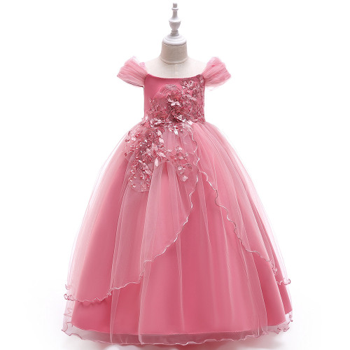 Pink Off Shoulder Flower Applique Beaded Girls Tulle Dress