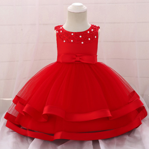Red Bow Beaded Baby Girls Tulle Party Princess Dresses