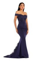 Off Shoulder Navy Lace Bodice Sweep Train Evening Dress