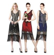 Retro Sequin Beaded Tassel Sleeveless Prom Dresses