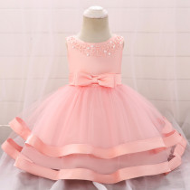 Pink Beaded Bow Baby Girls Party Tulle Princess Dresses