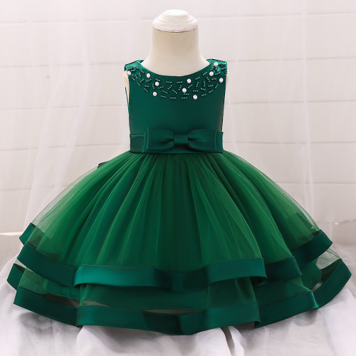 Green Bow Beaded Baby Girls Tulle Party Princess Dresses