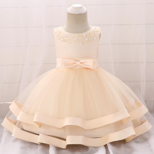 Champagne Bow Beaded Baby Girls Tulle Party Princess Dresses
