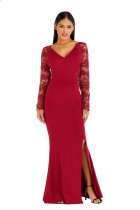 Hollow Out Lace Panel Slit Burgundy Mermaid Evening Dress
