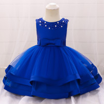Blue Beaded Bow Baby Girls Party Tulle Princess Dresses