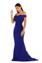 Blue Lace Bodice Off Shoulder Mermaid Evening Dress
