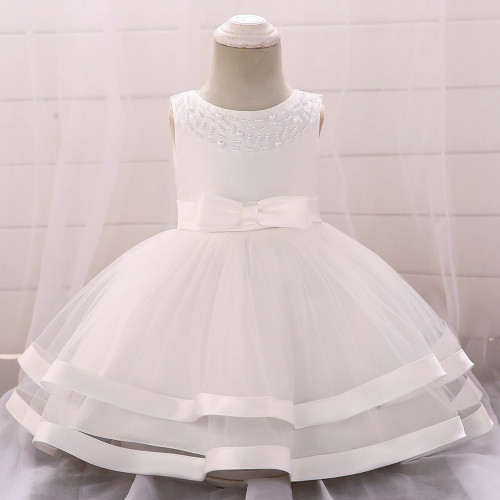 White Bow Beaded Baby Girls Tulle Party Princess Dresses