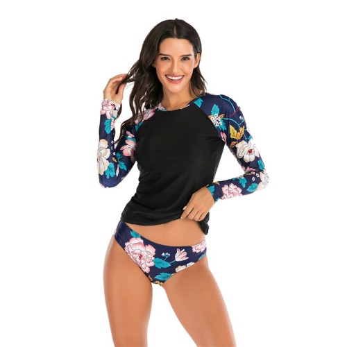 Floral Print Patchwork Long Sleeve Two Piece Swimwear