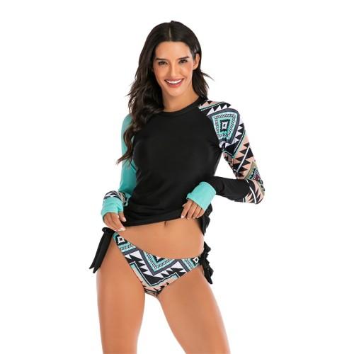 Contrast Geometric Colorblock Long Sleeve Two Piece Swimwear