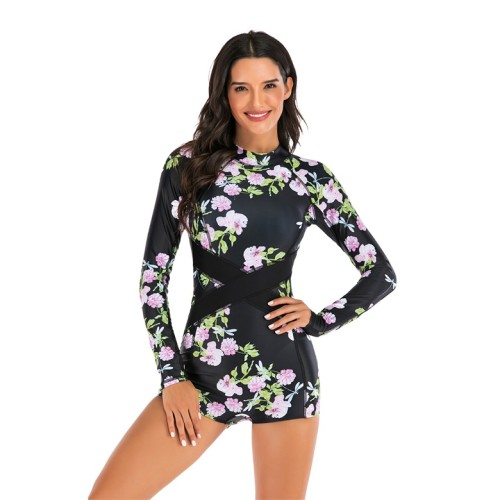 Black Floral Print Long Sleeve Shorts One Piece Swimsuit
