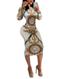 White & Gold Vintage Printed Long Sleeve Bodycon Dress