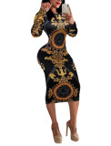 Black & Gold Vintage Printed Long Sleeve Bodycon Dress