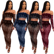 Tassel Sequin See Through Mesh Crop Top & Long Skirt Set