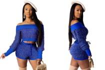 Off Shoulder Shiny Knit Crop Sweater & Shorts Set