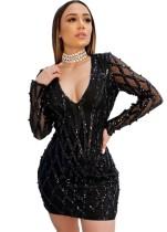 Black Sequin Deep V Long Sleeve Bodycon Party Dress