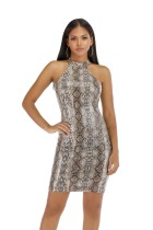 Snakeskin Print Halter Bodycon Dress