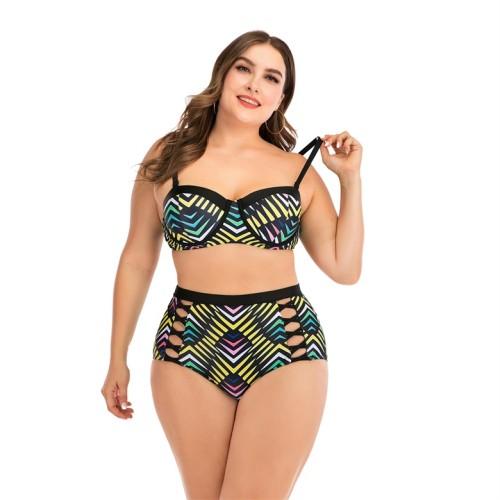 Plus Size Print High Waist Hollow Out Bikini Set