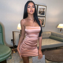 Pink Silky Backless Ruched Mini Cami Dress