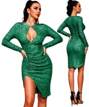 Sequin Green Long Sleeve Keyhole Slit Club Dress