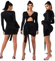 Black Cut Out Twist Sexy Club Dress