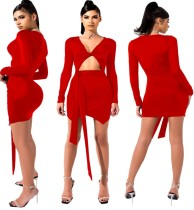 Red Twist Cut Out Sexy Party Dress