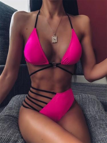 Hot Pink Strappy Hollow Out High Waist Bikini Set