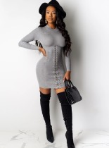 Gray Long Sleeve Lace Up Knitted Bodycon Dress