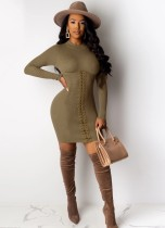 Brown Long Sleeve Lace Up Knitted Bodycon Dress