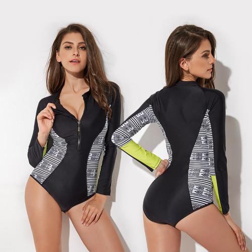 Print Geometric Surfing Long Sleeve One Piece Swimwear