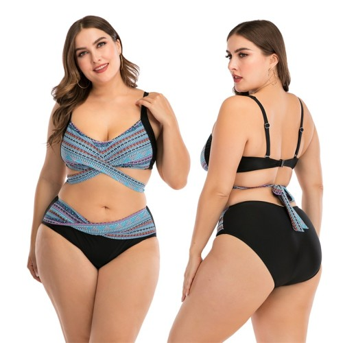 Plus Size Print Wrap Tie Back Two Piece Swimsuit