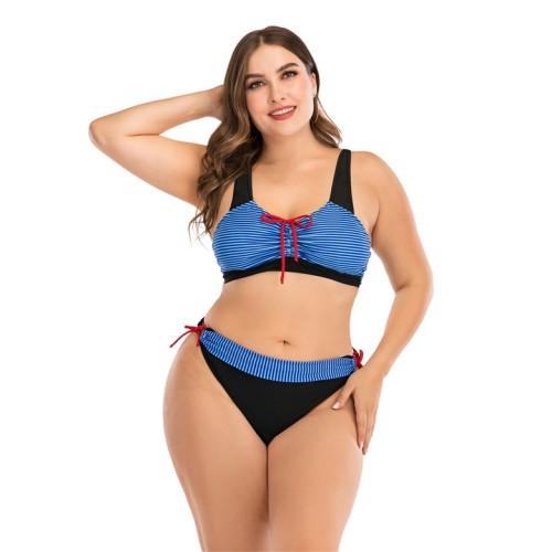 Plus Size Contrast Blue Striped Tie Sides Bikini Set