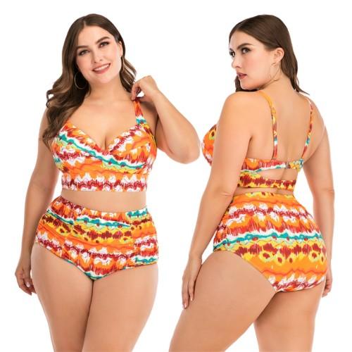 Plus Size Orange Print High Waist Bikini Set