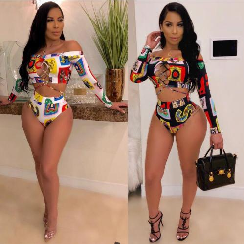 Fashion Print Long Sleeve Hollow Out Two Piece Swimsuit
