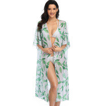 White & Green Leaf Print Cardigan Cover Up
