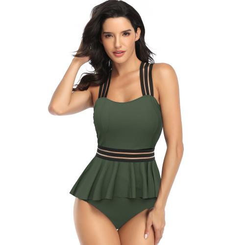 Army Green Peplum Tankini High Waist Two Piece Swimsuit