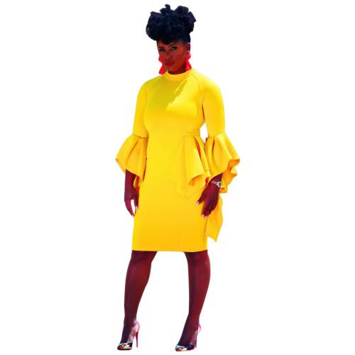 Yellow Bell Sleeve Peplum Dress