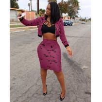 Splash-Ink Purple Cropped Jacket & Skirts Sets