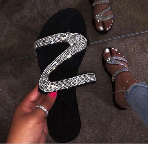 Rhinestone Zig-Zag Strap Slipper