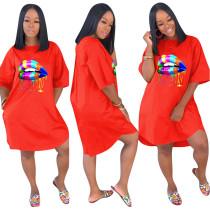Lip Print Orange Loose Casual Dress