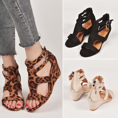 Women's Wedges Sandal with Back Zipper