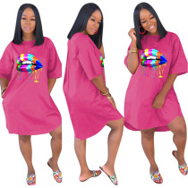 Lip Print Hot Pink Loose Casual Dress